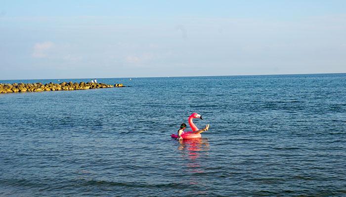 enfant joue à la mer, baignade, un bouée gonflable flamant rose •Plage, roseau, couché de soleil