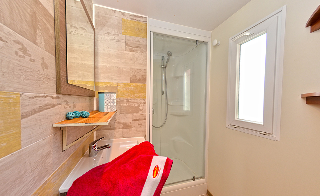 location camping, salle de bain avec bac de douche neuf, mur imitation bois, pièce lumineuse