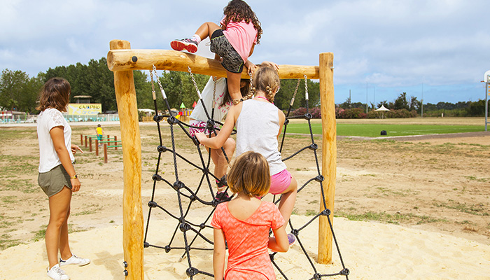 climbing net, sports field, sports activities for adults and children