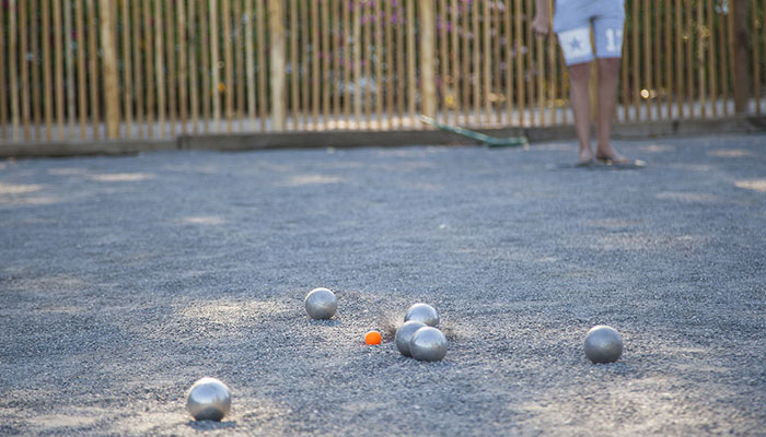 Petanque field, team tournament, gravel, refreshment bar, boules games