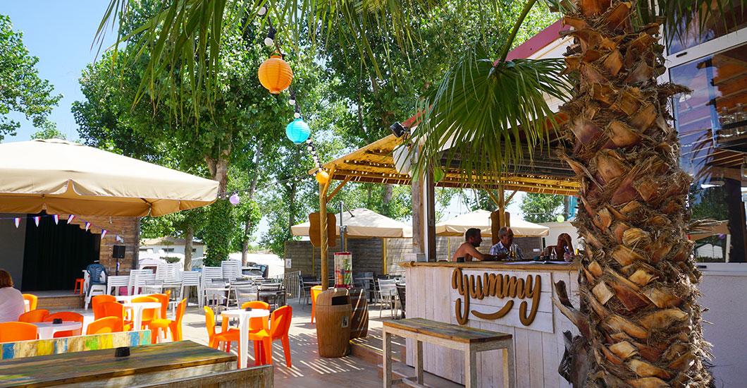 Terrasse extérieure le Yumme restaurant Yelloh Village domaine Sainte Cécile, soleil, palmier, services 4 étoiles
