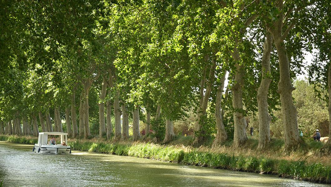 Canal du Midi in Vias-Plage, Radtour und Bootsfahrt ohne Führerschein am Canal entlang