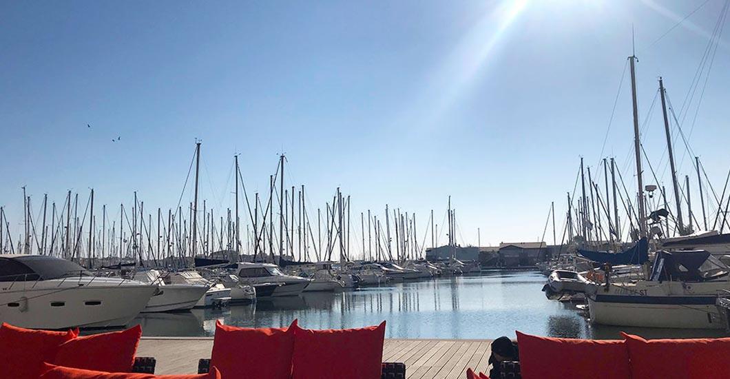 Boats, sailing boats, port of Cap d'Agde, Mediterranean sea, bar and restaurant, coffee on terrace