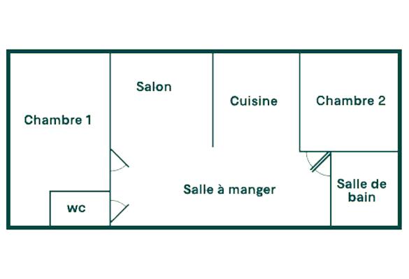 plan intérieur bungalow 4 personnes 2 chambres vias sainte cecile
