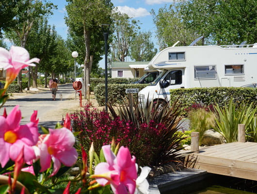 cheap camper van area one night open during summer, camping sainte Cécile in Vias plage
