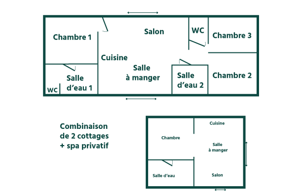 plan cottage family premium 8 personnes avec spa Domaine Sainte Cécile