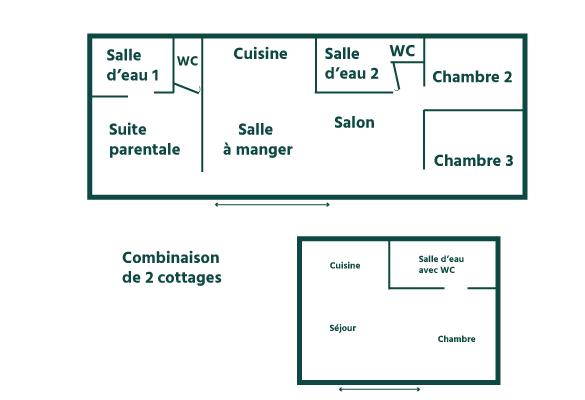 plan intérieur cottages whaou 8 personnes camping sainte cecile de vias plage